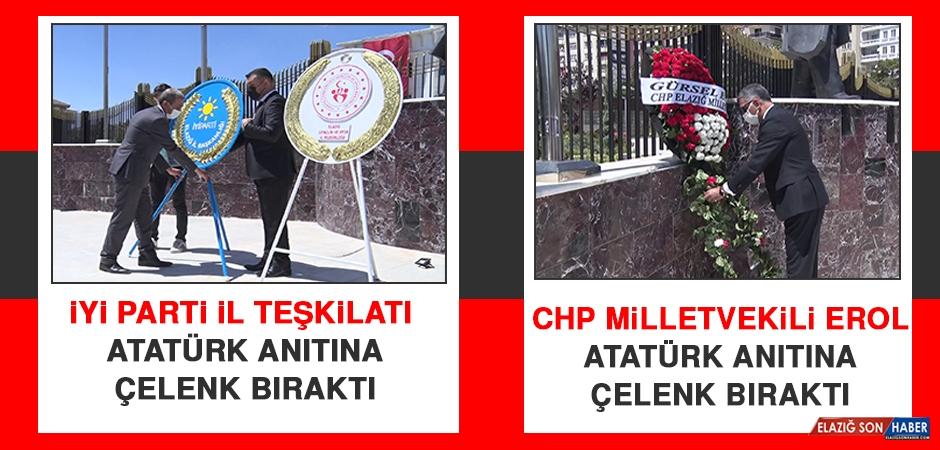 CHP Milletvekili Erol ve İYİ Parti İl Teşkilatı, Atatürk Anıtına Çelenk Bıraktı