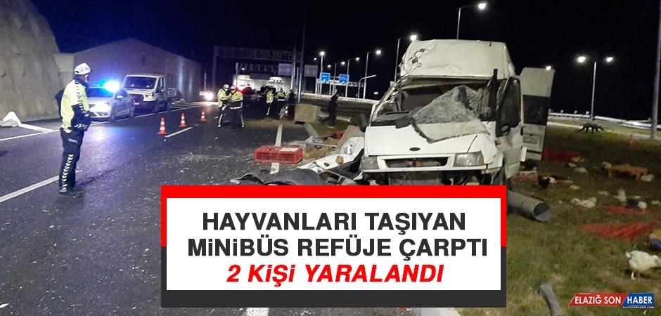 Hayvanları Taşıyan Minibüs Refüje Çarptı 2 Kişi Yaralandı