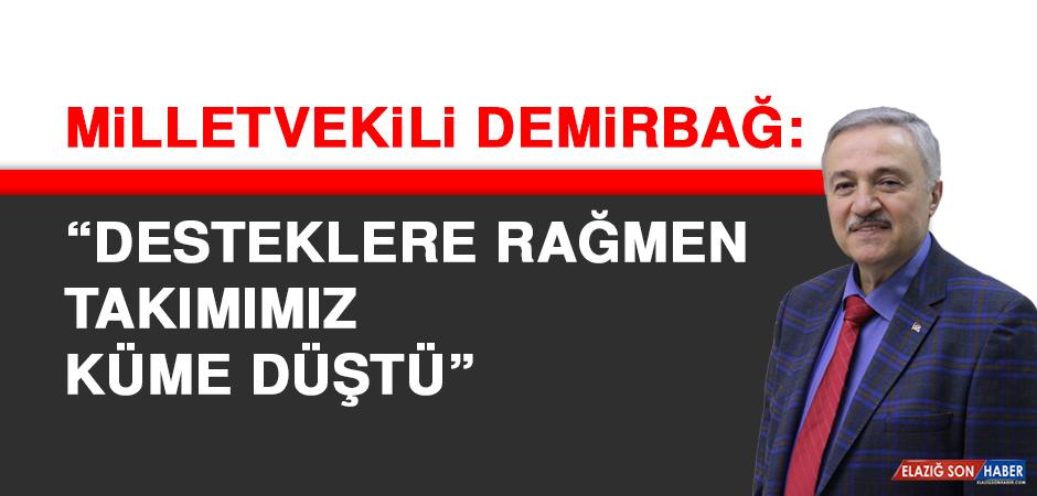 Milletvekili Demirbağ: Desteklere rağmen takımımız küme düştü