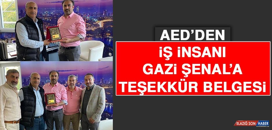 AED'den İş İnsanı Gazi Şenal'a Teşekkür Belgesi