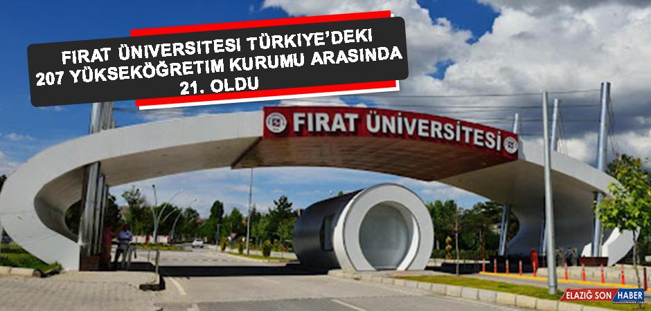 Fırat Üniversitesi Türkiye'deki 207 Yükseköğretim Kurumu Arasında 21. Oldu