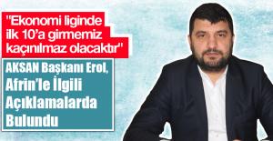 AKSAN Genel Başkanı Erol Afrin'le İlgili Açıklamalarda Bulundu