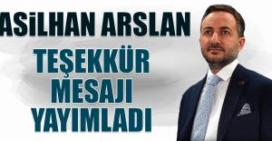 Arslan, Teşekkür Mesajı Yayımladı