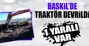 Baskil'de Traktör Devrildi