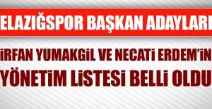 Elazığspor Başkan Adayları Yumakgil ve Erdem'in Yönetim Listesi