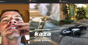 Motosikletiyle Güvenlik Bariyerlerine Çarpan Sunucu Alp Kırşan, Kaza Anını Paylaştı