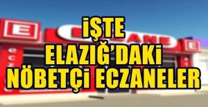 17 Ekim 2018 Elazığ'daki Nöbetçi Eczaneler