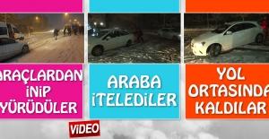 Elazığ'da Kar Yağdı Araçlar Yine Yollarda Kaldı