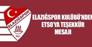 TY Elazığspor Kulübü'nden ETSO'ya Teşekkür Mesajı