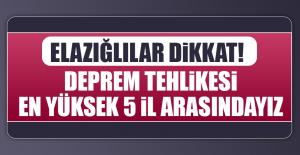 ELAZIĞLILAR DİKKAT! DEPREM TEHLİKESİ...