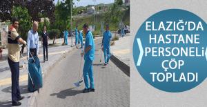 Elazığ'da Hastane Personeli Çöp Topladı