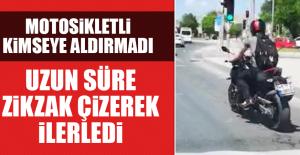 Motosikletli Uzun Süre Zikzak Çizerek...