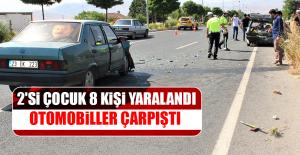Otomobiller Çarpıştı, 2'si Çocuk 8 Kişi Yaralandı
