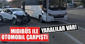 Keban'da Midibüs İle Otomobil Çarpıştı!