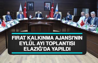 Fırat Kalkınma Ajansı'nın Eylül Ayı Toplantısı Elazığ'da Yapıldı