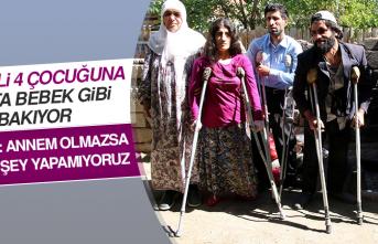 Engelli 4 Çocuğuna Devlet Desteğiyle Adeta Bebek Gibi Bakıyor