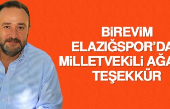B.Elazığspor'dan Milletvekili Ağar'a Teşekkür