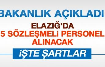 Elazığ'da 5 Sözleşmeli Personel Alımı Yapılacak