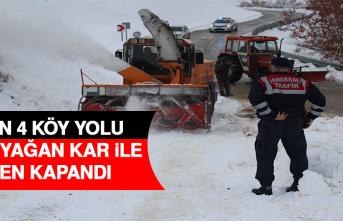Açılan 4 Köy Yolu Gece Yağan Kar İle Yeniden Kapandı