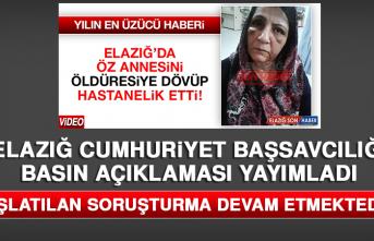 Elazığ Cumhuriyet Başsavcılığı Yürek Sızlatan Olayla İlgili Basın Açıklaması Yayımladı