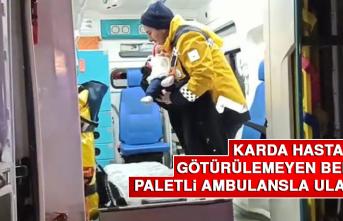Karda Hastaneye Götürülemeyen Bebeğe Paletli Ambulansla Ulaşıldı