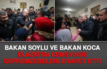 Bakan Soylu ve Bakan Koca Elazığ'da Cemevinde Depremzedeleri Ziyaret Etti