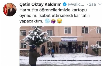 Elazığ Valisi Kaldırım'dan esprili kar tweeti