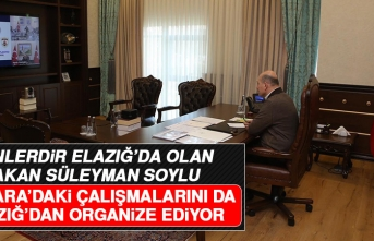 Bakan Soylu, Ankara'daki Çalışmalarını Elazığ'dan Organize Ediyor