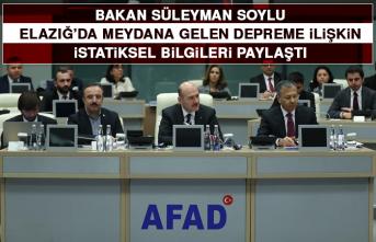 Bakan Soylu Elazığ'da Meydana Gelen Depreme İlişkin Bilgileri Paylaştı