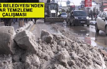 Elazığ Belediyesi'nden Kar Temizleme Çalışması