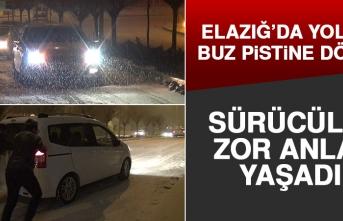 Elazığ'da Kar Yağışı Nedeniyle Sürücüler Zor Anlar Yaşadı