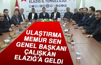 Ulaştırma Memur Sen Genel Başkanı Çalışkan Elazığ'a Geldi