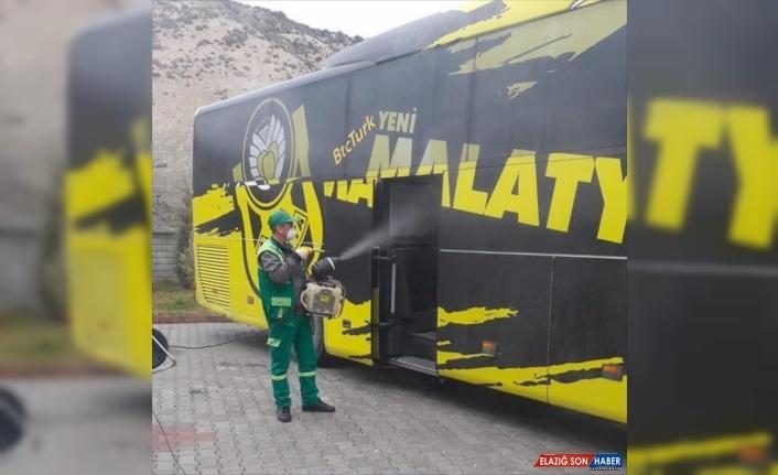 BtcTurk Yeni Malatyaspor takım otobüsü dezenfekte edildi