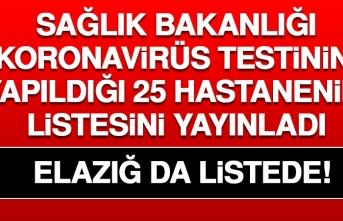 KORONAVİRÜS TESTİNİN YAPILDIĞI 25 HASTANENİN LİSTESİNİ YAYINLADI. ELAZIĞ'DA LİSTEDE!