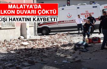 Malatya'da Balkon Duvarı Çöktü