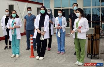 Van'da sağlık çalışanlarına karanfil dağıtıldı