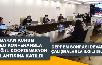 Bakan Kurum Video Konferansla Elazığ İl Koordinasyon Toplantısına Katıldı