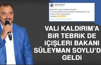 Bakan Soylu, Vali Kaldırım'ı Tebrik Etti