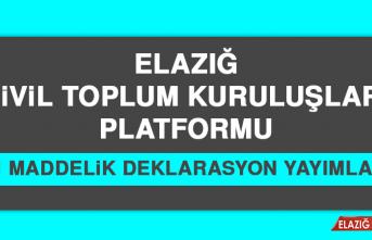 Elazığ STK Platformu 11 Maddelik Deklarasyon Yayımladı
