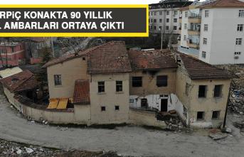 KERPİÇ KONAKTA 90 YILLIK TAHIL AMBARLARI ORTAYA ÇIKTI