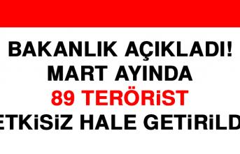 Mart Ayında 89 Terörist Etkisiz Hale Getirildi