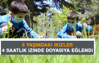 5 Yaşındaki İkizler 4 Saatlik İzinde Doyasıya Eğlendi