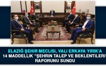 Elazığ Şehir Meclisi, Vali Yırık'a 14 Maddelik Rapor Sundu