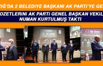 Elazığ'da AK Partiye Geçen 2 Belediye Başkanına Rozetlerini Numan Kurtulmuş Taktı