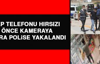 Cep Telefonu Hırsızı Önce Kameraya Sonra Polise Yakalandı