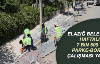 Elazığ Belediyesi Haftalık 7 Bin 500 m2 Parke-Bordür Çalışması Yapıyor
