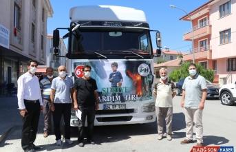 Erzincan'dan Suriyeli mağdurlara 23 ton gıda ve giyecek yardımı gönderildi