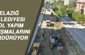 Elazığ Belediyesi Yol Yapım Çalışmalarını Sürdürüyor