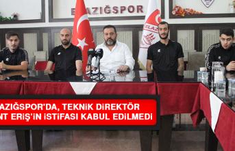 Elazığspor'da, Teknik Direktör Eriş'in İstifası Kabul Edilmedi