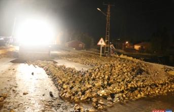 Ağrı'da tırın dorsesinden yola dökülen şeker pancarları ulaşımı aksattı